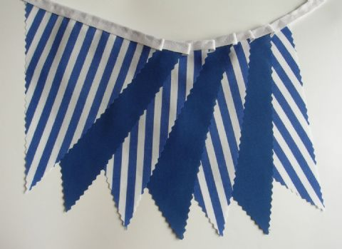 BUNTING Plain Royal Blue and Blue with White Stripes on White Tape - 3m, 5m or 10m